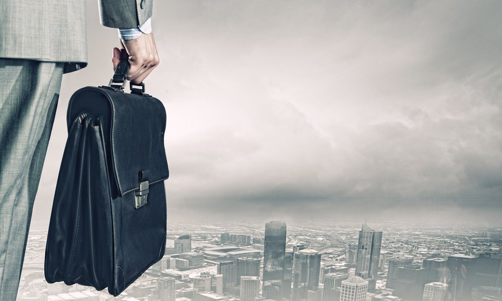 Back view of businessman with suitcase looking at city-1