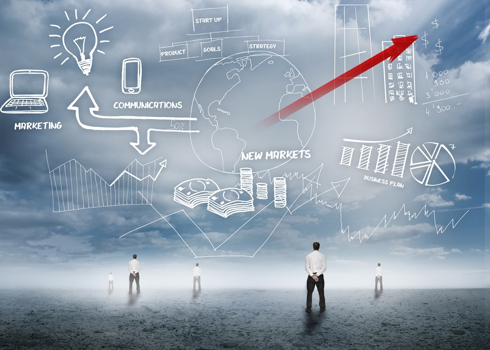 Businessmen standing looking up at business flowchart with red arrow in desert setting.jpeg