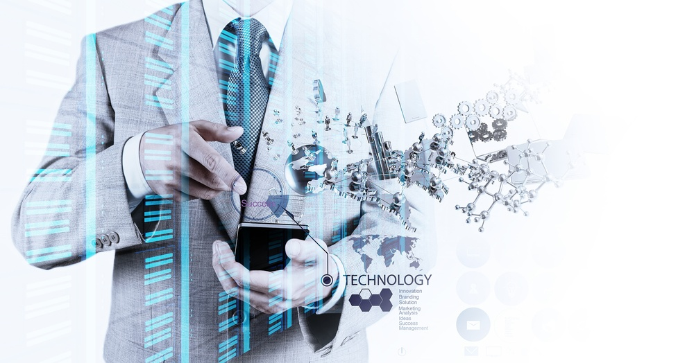 Double exposure of businessman shows modern technology as concept-1