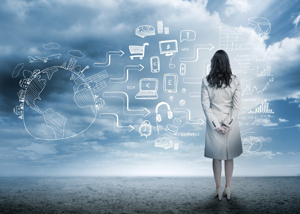 Businesswoman looking out at brainstorm drawings in cloudy landscape-1